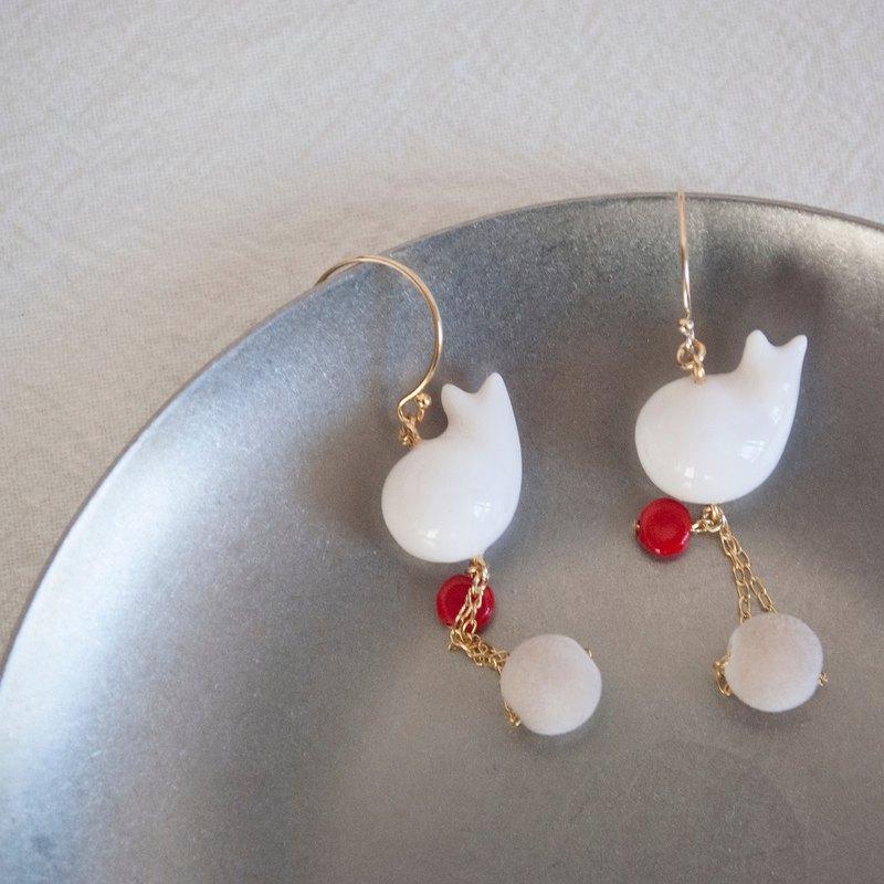 TeaTime  側臥的雪貓  秋冬款  耳環 耳夾