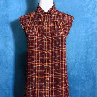 Small round neck plaid sleeveless vintage shirt / brought back to VINTAGE abroad