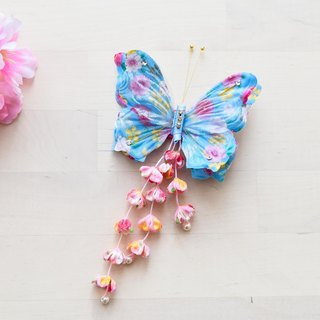Butterfly hair ornaments blue flowers fringed models