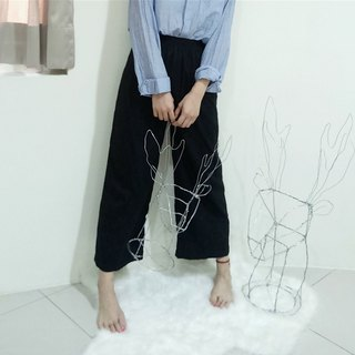Black Night Slim Wide Pants Without Moon | 100% Organic Cotton | Slim Elastic Waist Wide Pants