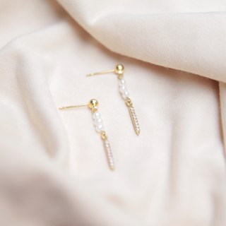 City girl series of natural freshwater pearl, flashing small zircon gold earrings clip earrings