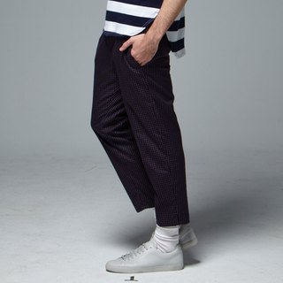 Stone'As Cropped Tapered Trousers In Navy / Pants Cropped Pants Plaid