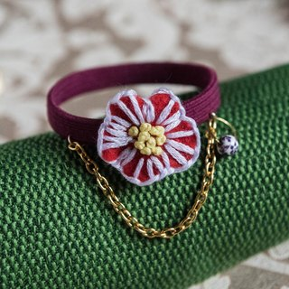 3D handmade embroidery flower accessory - Dark red cherry blossom with ceramic decoration