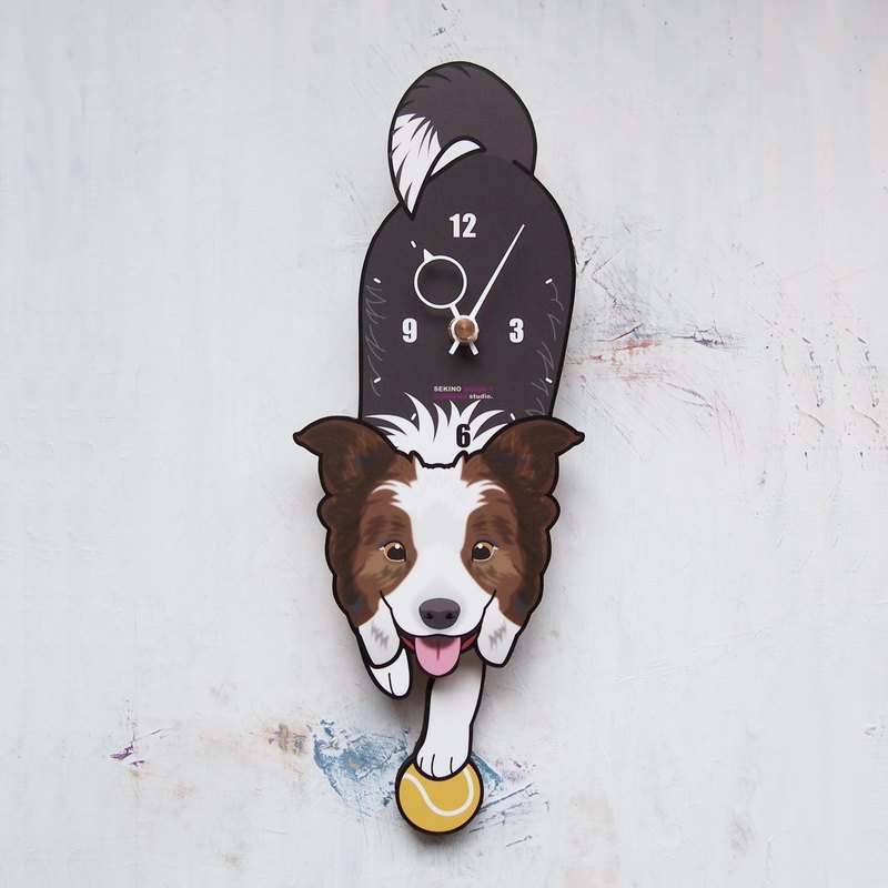 D-70 Border Collie(white) - Pet's pendulum clock