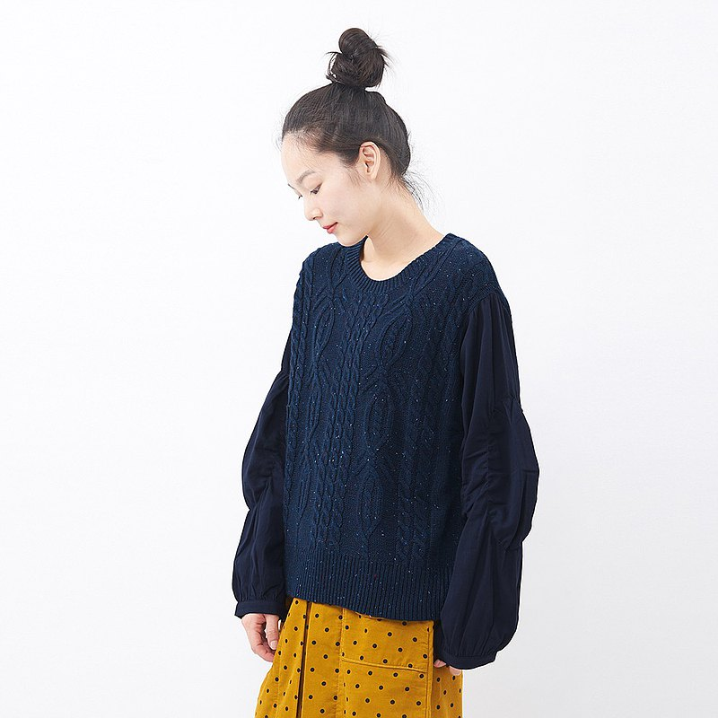 à la sha 袖子拼接創意針織上衣