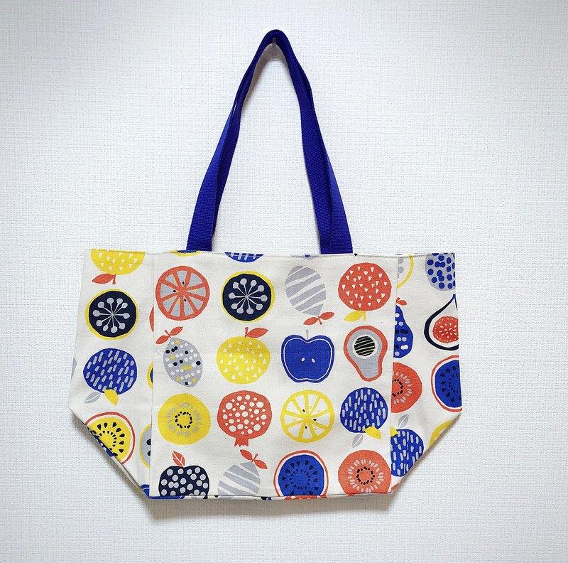 日本印花棉布托特包-寬底-彩色水果了