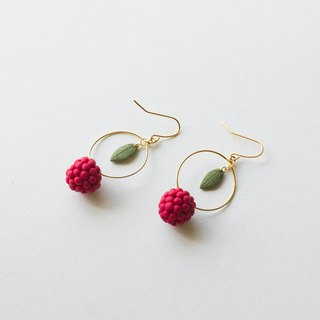 Hand made soft ceramic raspberry earrings ear hook ear jewelry pair
