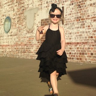 Girls Birthday Party Flamenco Dress in Black 6-12 Years