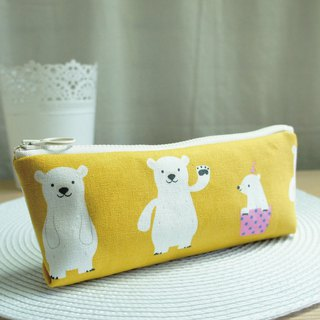 Lovely Polar Bear Pencil Case, Tool Bag, Mustard Yellow