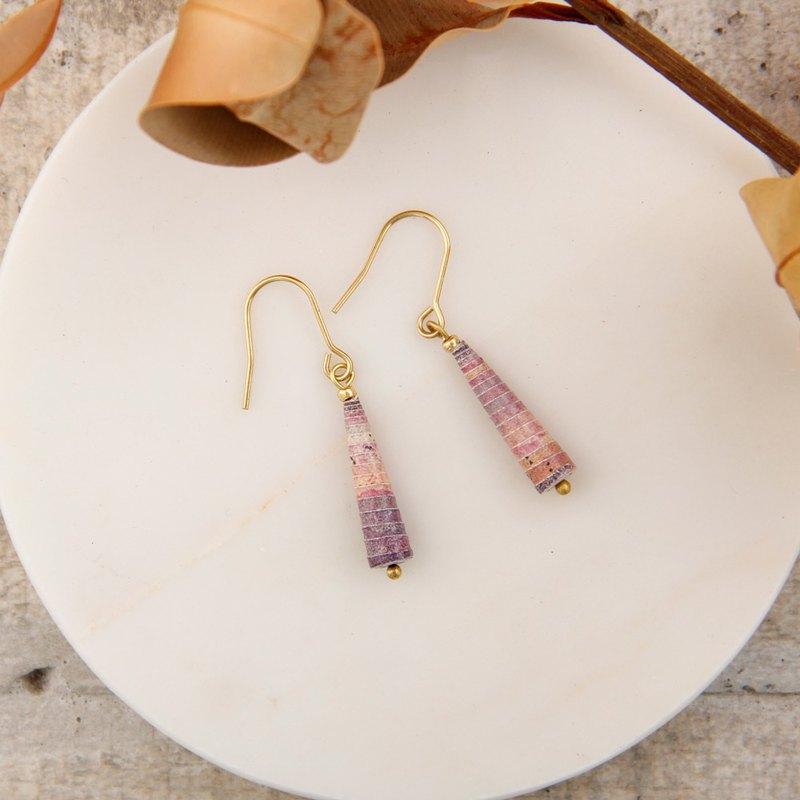 MUSEV pink purple gradient awl earrings