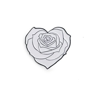 White Heart Rose Black Border Pin