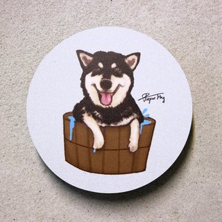 """Black Shiba Inu - bath"" / original illustrations - absorbent ceramic coasters / Flies Planet / Hands Bazaar /"