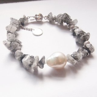 Nature black rutilated quartz with nature freshwater pearl bracelet