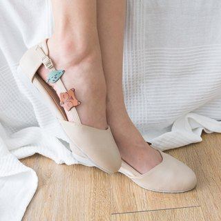 Foxie Cream Ballet with Fox & Leaf Rubber Sole Shoe