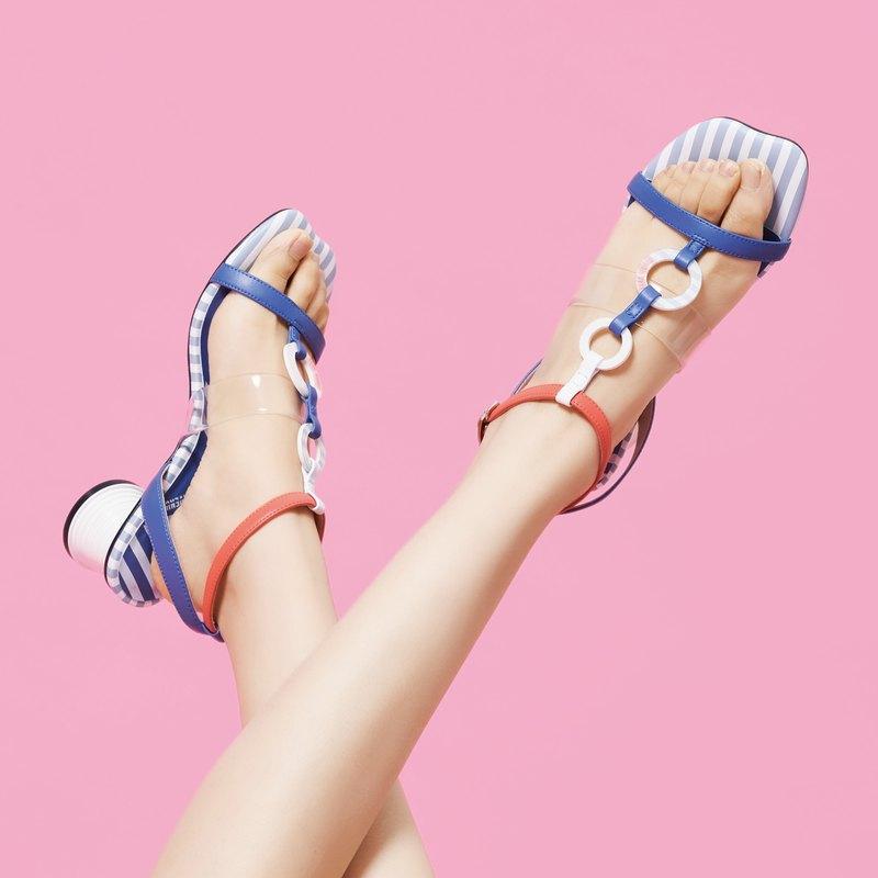 | HOA | 弧形底板低根踝帶涼鞋 | 藍色 | 5447 |