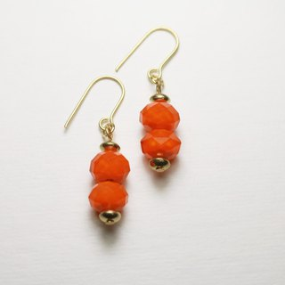 // Glass crystal double beads series middle earrings pumpkin orange //
