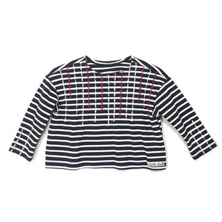 MARINESTYLE Horizontal stripe check long T-shirt