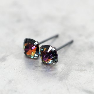 Galaxy 'Volcano' Crystal Earrings, Black Sterling Silver, 6mm Round