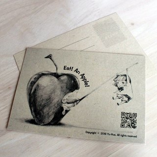 [YH x] postcard illustration - Sketch eating an apple