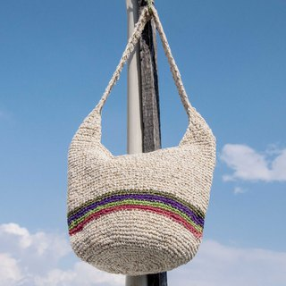 Natural cotton and linen crocheted light bag / cross-body bag / side backpack / shoulder bag / travel bag / cylinder bag - fruit