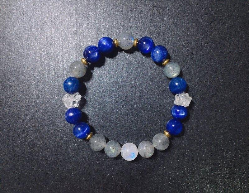 【藍色星球2】藍晶石 拉長石 月光石 白水晶 手鍊