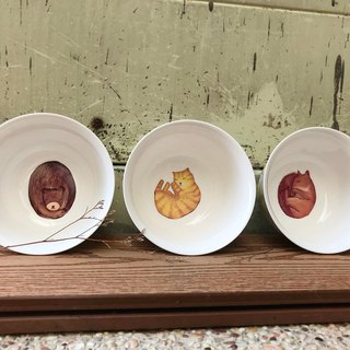 Sleep quietly bowl / gift / package / cute animals / maple / bear / cat / squirrel