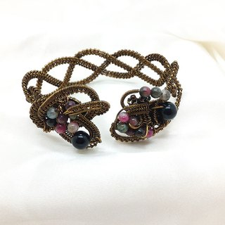 【JTBREW】Wire Weaving Tourmaline Vintage Bronze Bracelet