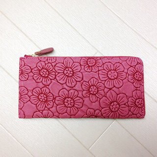 Long wallet leather wallet soft leather flower flower pink L fastener slim soft