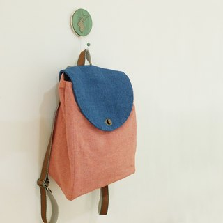 Small red bag coarse hemp cover backpack Japan first red cloth and blue hand sewn decorative line zipper