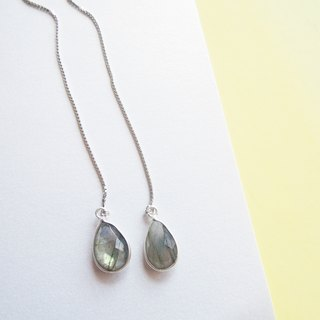 Pear Shape Dangle Labradorite Thread Earrings - 925 Silver | Plated with 18K Gold