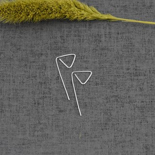 Triangular embossed pin earrings (sterling silver geometric earrings) ::C% handmade jewelry::