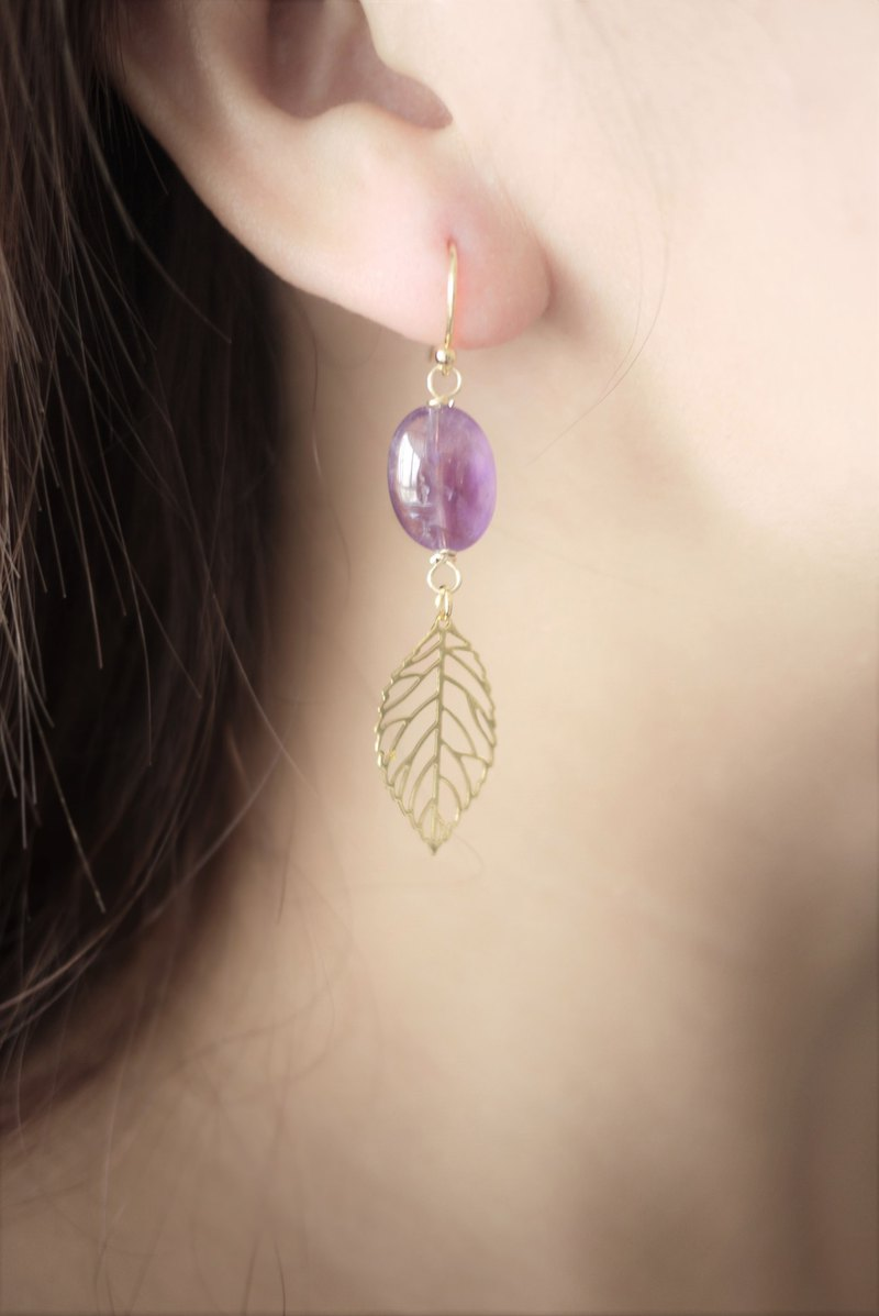 Amethyst dangle earrings - 18k gold plated earrings - leaves earrings