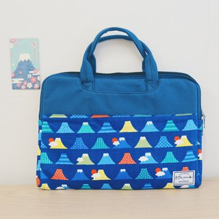 Dark Blue Mount Fuji - Colorblock Cloth Laptop Case (13-14吋) / 815a.m