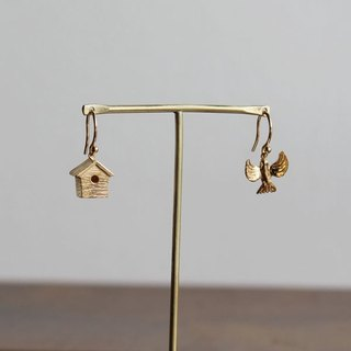 Bird and nest box earrings