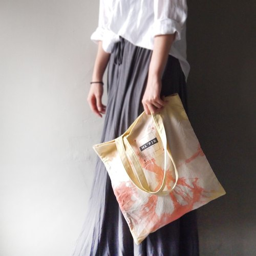 Cross press tie dyed lemon yellow / light orange - short strap canvas hand dyed Tote bag