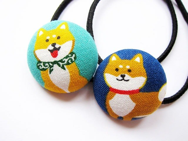 Hand-made cloth buttons tress hair ring Shiba Childress