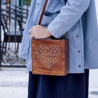 Harajuku original niche design Sen Japanese handmade embroidered wood love slanting shoulder bag