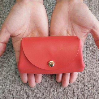 Lightweight leather wallet - rose red
