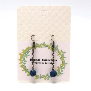 Diffuser Earrings Indigo Blue Aroma Rock Lava Beads Dangle Hook Piercing