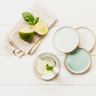 (NEW) - 4 Stoneware Coasters (UK)