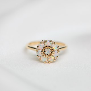 【PurpleMay Jewellery】18k Yellow Gold Blossom Opal Diamond Ring Band R044