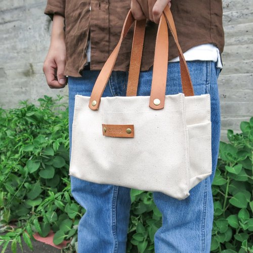 Leather sail lunch bag--classic white large capacity lunch box office worker companion [change tide change bag]