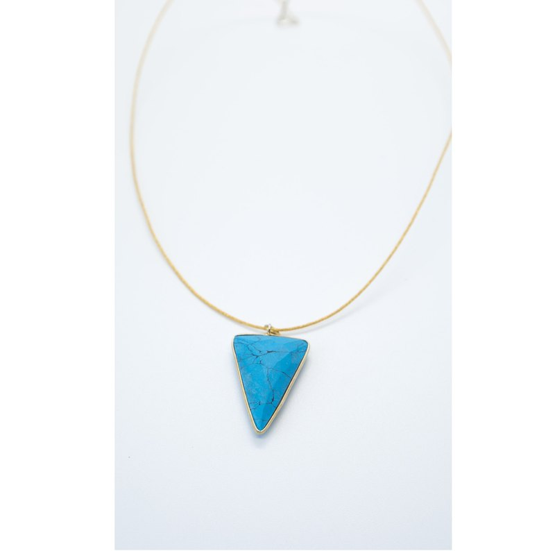 Turquoise-liked arrow stone with golden silk necklace