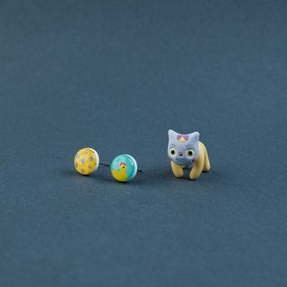Scary Clow Cat - Polymer Clay Earrings, Handmade&Handpaited Catlover Gift