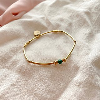 Green stairs-Brass bracelet