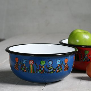 Smaltum Prague enamel soup bowl _ geometric meow micro-blue and green (FDN000472)