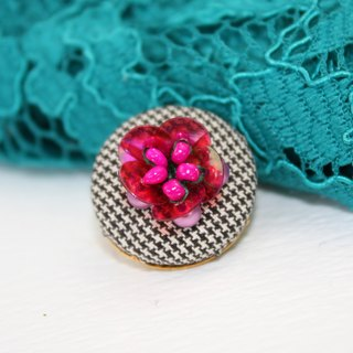 handmade reddish purple floral brooch,  round flower pin
