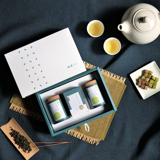 Taiwan Tea & Snack Gift Box-2 Regular Tea Cans + 1 Box of Milk Tea Fudge