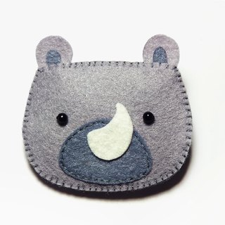 Cute Animal Hair Clips - rhinoceros   Jule Handmade