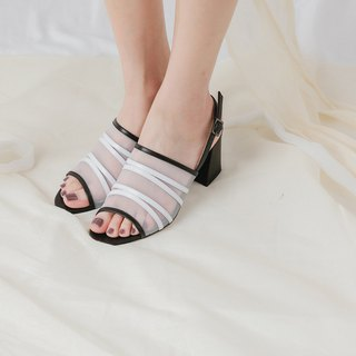 Line mesh retro rough leather sandals black and white
